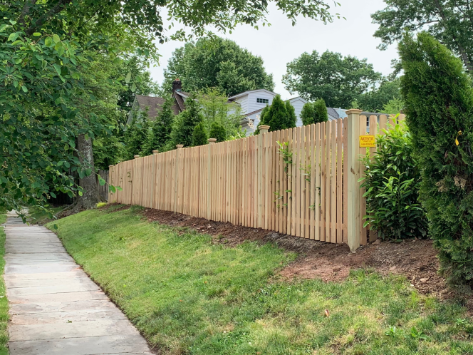 Wood picket fence installed by Artistic Fence Company in Montclair New Jersey   Style #104
