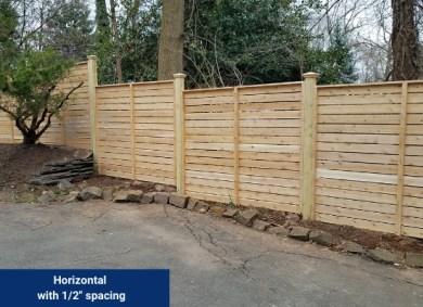 "Horizontal Wood Fence with 1/2"" spacing"