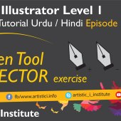 Adobe Illustrator Episode 12(d) – Pen Tool Vector Excercise – Urdu/Hindi