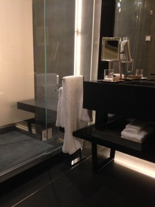 Black absolute & tile bathroom