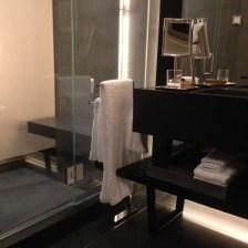 Black absolute & tile bathroom