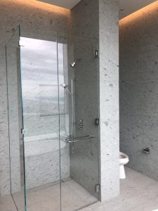 432 Park Ave bathroom 2 shower and WC floor and walls in Japanese marble