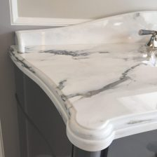 Paonazzo white marble sink top custom edge