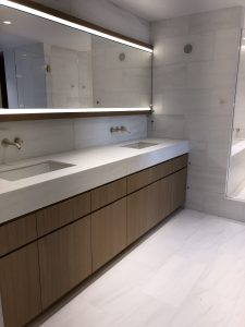 Master bathroom with white dolomiti marble vanity top, floor and walls