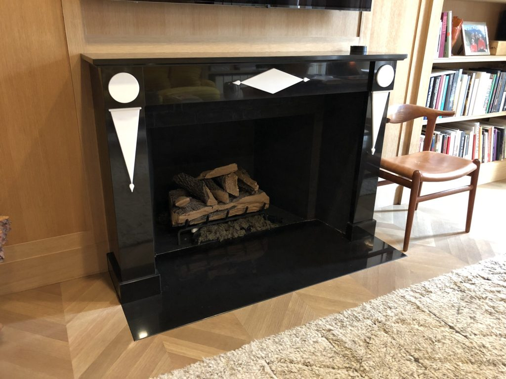 Custom Belgium black and white thassos marble fireplace mantel