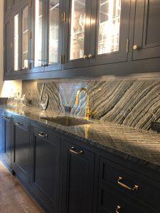 Butler's Pantry counter and backsplash in kenya black silver wave marble