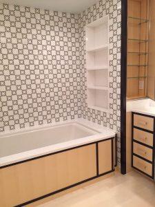 Master bathroom with custom belgium black and white thassos checkerboard