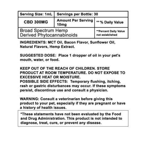 sun state bacon 300mg pet tincture label