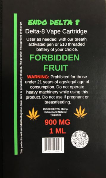 Endo Delta 8 THC Cart Forbidden Fruit 1ml