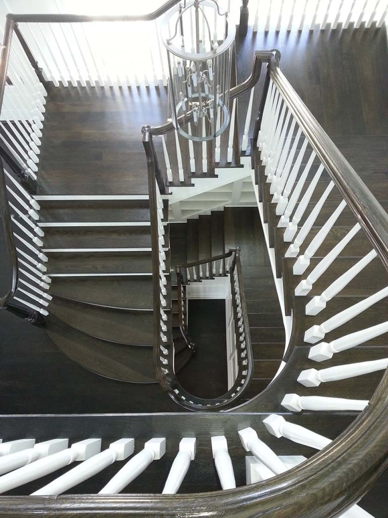 Stunning Round Stairs Using Wood Amp Metal Balusters