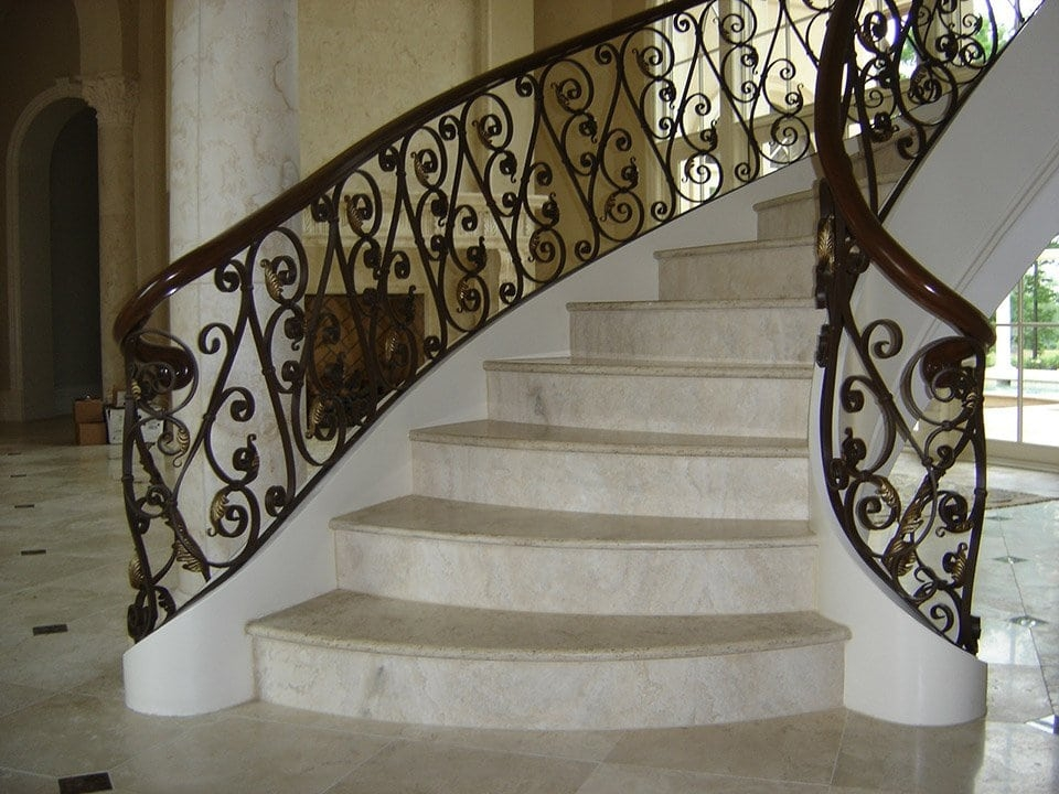 Wrought Iron Stair Railing Southern Staircase Artistic Stairs | Iron Handrails For Steps | Minimalist Simple Stair | Double Basket | Contemporary | Horizontal Farmhouse | Outdoor