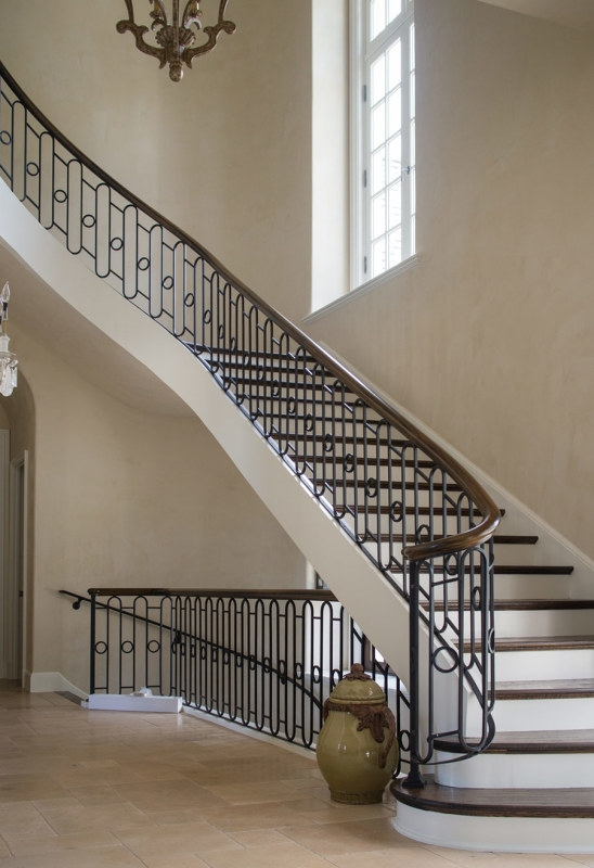 Wrought Iron Stair Railing Southern Staircase Artistic Stairs   Rod Iron Stair Railing   Balusters   Horizontal   Ironwork   Banister   Spanish Style