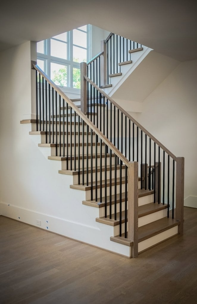 Mission Style Staircase Southern Staircase Artistic Stairs | Wood And Metal Handrail | Interior | Iron Railing | Architectural Modern Wood Stair | Stainless Steel | Traditional