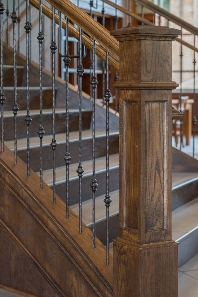 Metal Baluster System Southern Staircase Artistic Stairs   Wood Railing With Metal Spindles   Brazilian Cherry Stair   Newel Post   Stained   Traditional   Metal Stair