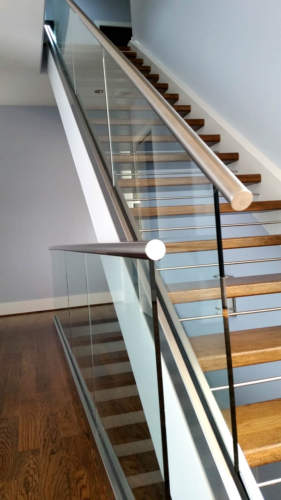 Glass Staircase Southern Staircase Artistic Stairs   Modern Metal Stair Railing   Interesting   Horizontal Slat   Curved Metal   Low Cost   Before And After