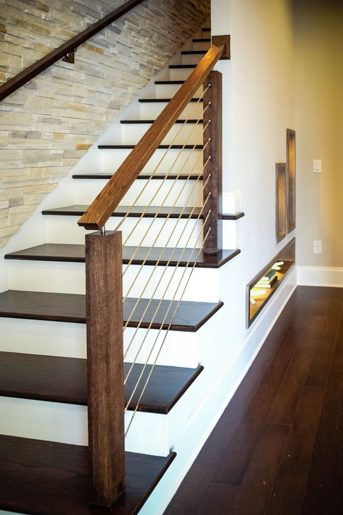Cable Railing Systems Southern Staircase Artistic Stairs   Wood And Wire Stair Railing   Hampton Style   Exterior   Closed Staircase   Horizontal Round Bar   Square Wire