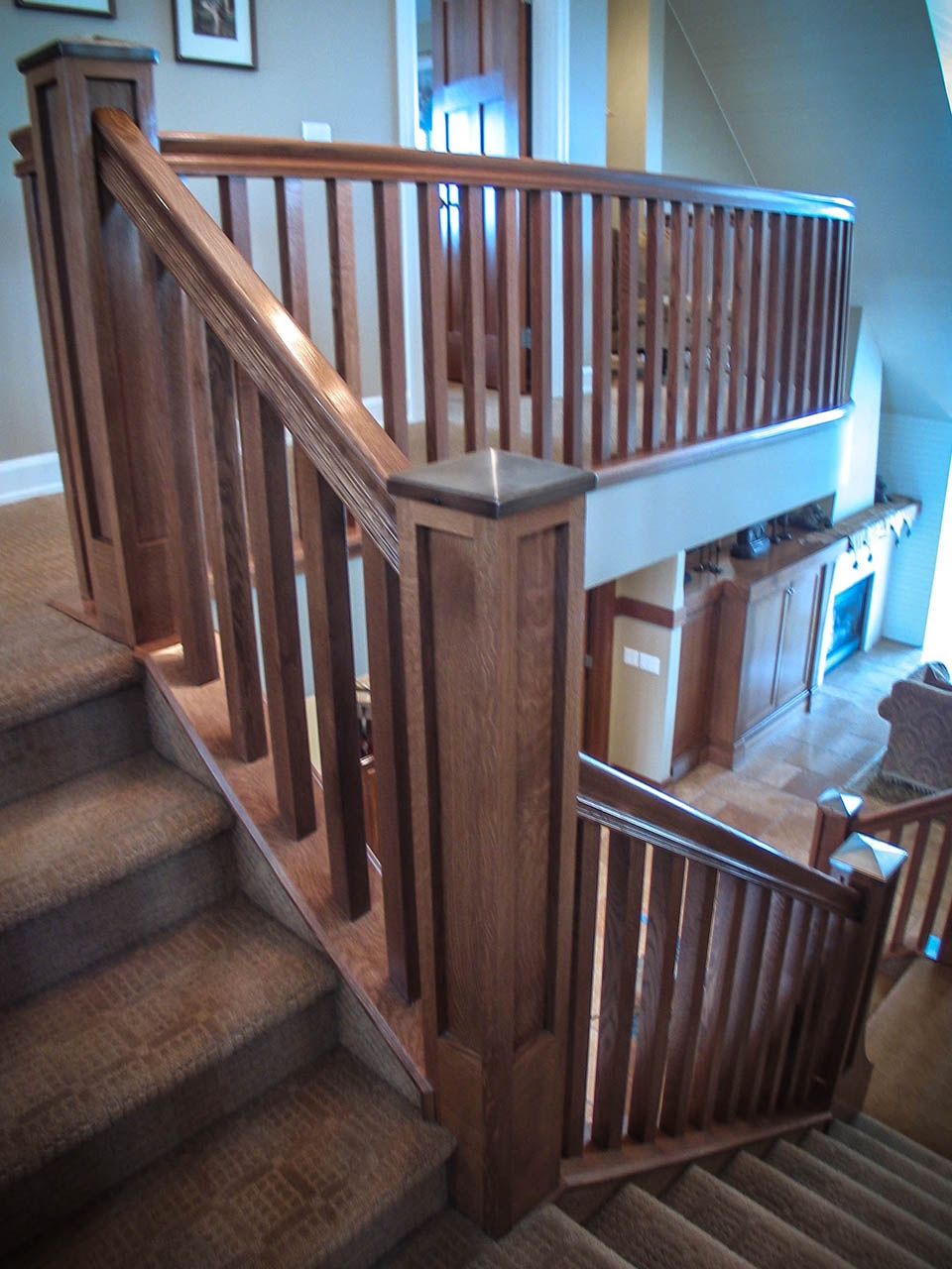 Mission Style Staircase Southern Staircase Artistic Stairs   Craftsman Stair Railing Designs   Homemade   Simple 2Nd Floor Railing Wood Stairs Iron Railing Design   Entryway Stair   Plain Traditional Stair   Floor To Ceiling