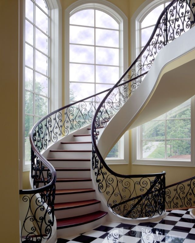 Home Southern Staircase Artistic Stairs | Round Stairs Railing Design | Metal | Silver | Loft | Stainless Steel | Brown