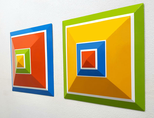 """Alber's Pyramids""; 24""X24""X6"" each, painted steel"