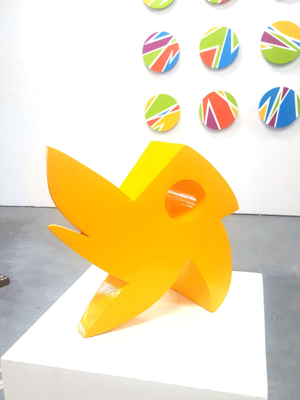 """""""Chick-a-dee""""; 12X12X6, painted steel"""