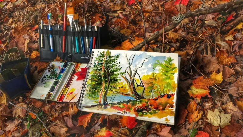 A watercolor painting and supplies among fall leaves