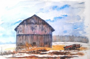 A watercolor of a barn with snow and mud