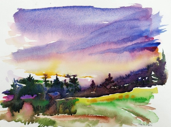 A watercolor titled Meridian Park Glowing Sunset