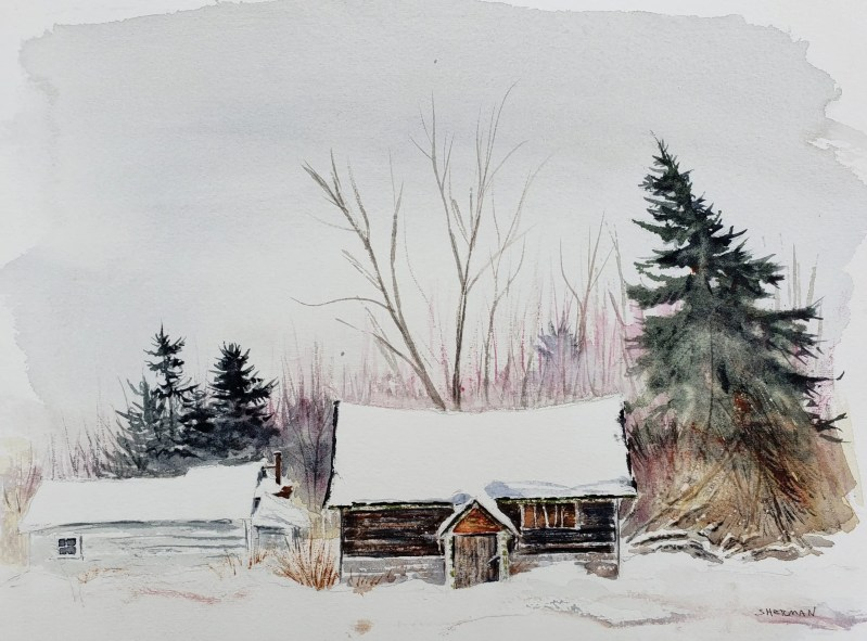 "Painting titled ""Forgotten Cabin in Mt. Pleasant"""