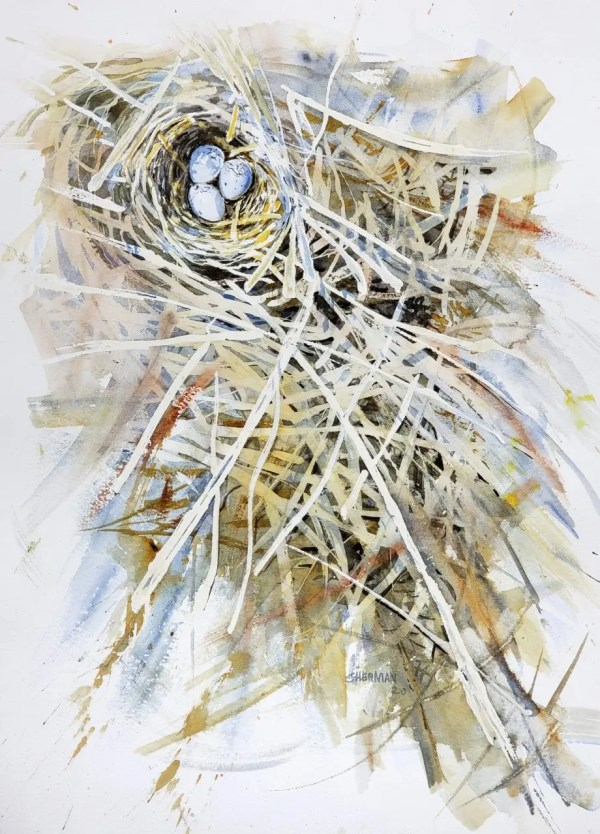 Negative Painting of a Red-winged Blackbird Nest