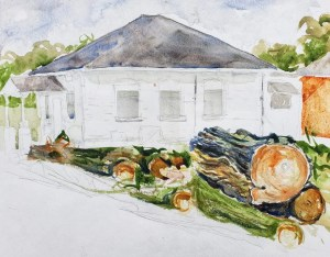 Paintings of the Lost Buildings of Isabella County-by the Borden Building