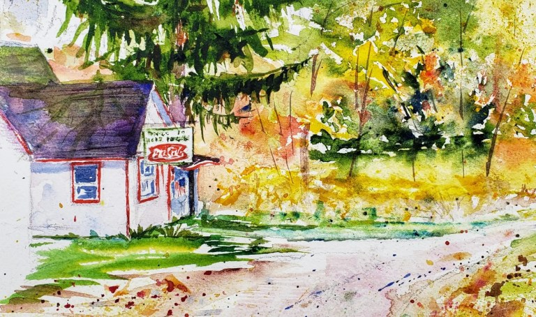 A watercolor painting of the Horr General Store