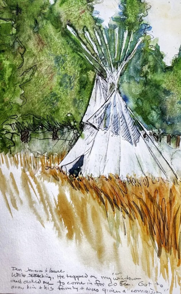 A watercolor sketch of a Tee Pee