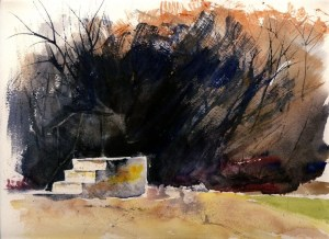 A watercolor painting of cement stairs of a demolished building