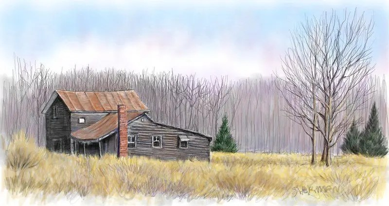 A digital drawing of a gray farmhouse