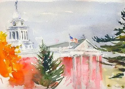 P painting of the Charlotte Court House in Eaton County, Michigan