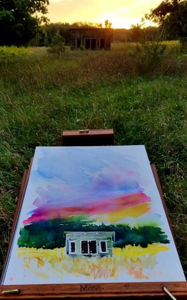 Easel and Painting of a Farm Shed