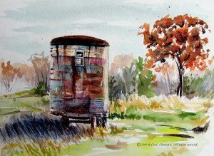 A painting of an Autumn Rusty Trailer