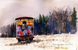 A painting titled New Year's Rusty trailer