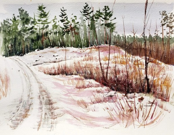 A plein air watercolor of the pinery road which leads to a Native American Cemetery using objective colors