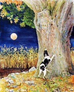 A painting of a Treeing Walker hound dog