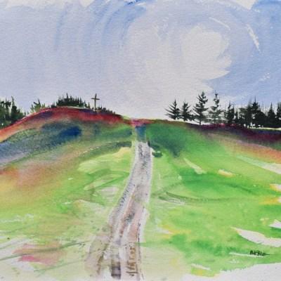 A loose, gestural plein air watercolor painting of Blanchard Park