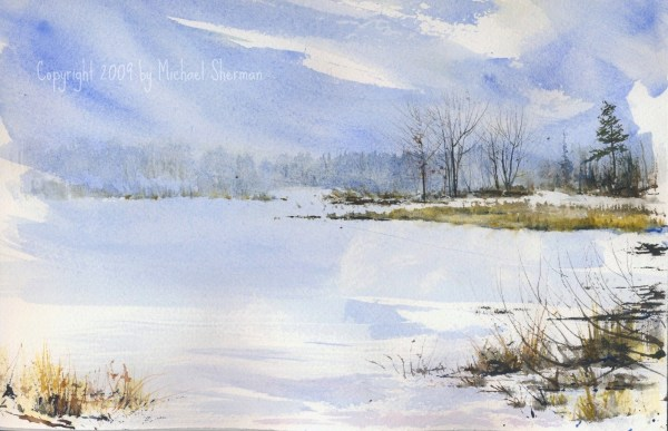 watercolor of a frozen lake