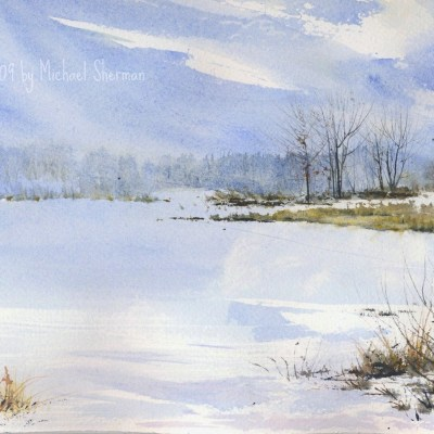 watercolor of a frozen lake