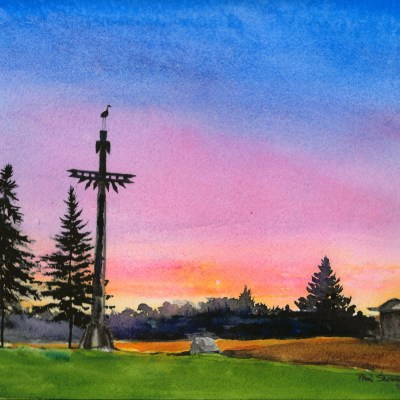 A sunset Painting of the Villiage of White Pine Michigan