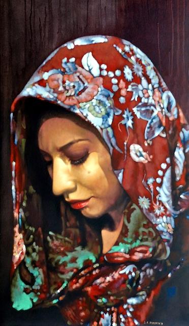 "Artist: Luis Alderete City: San Ysidro, CA Title: Musa Medium: Oil on Canvas Size: 48"" x 24"""