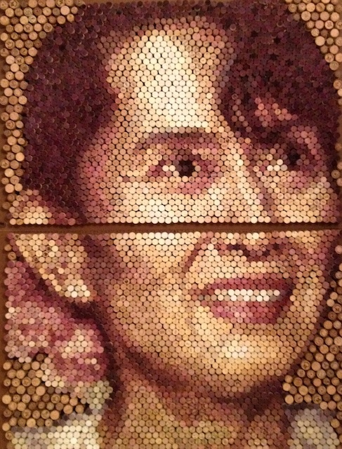 Conrad Engelhardt - London, UK Title: Aung San Suu Kyi Medium: Natural Wine Stained Cork on Board Size: 160cm x 123cm diptych