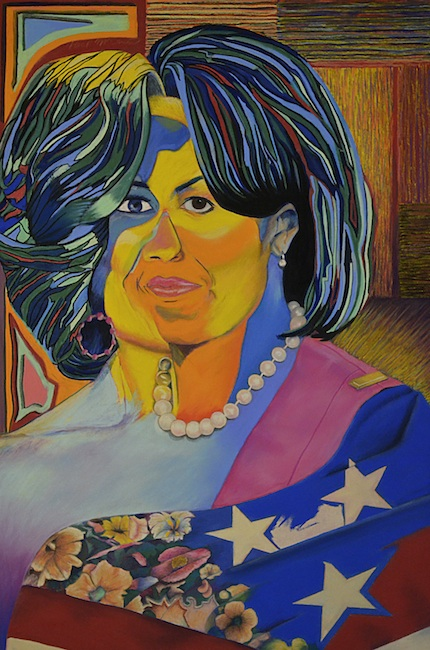 "Title: Michelle Obama Medium: Pastel Size: 17"" x 25.5"""
