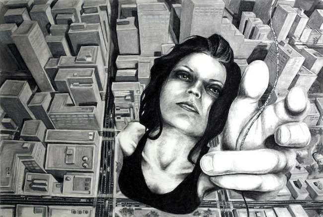 "Title: Letting Go Medium: Charcoal and Pastel Size: 32"" x 49"""