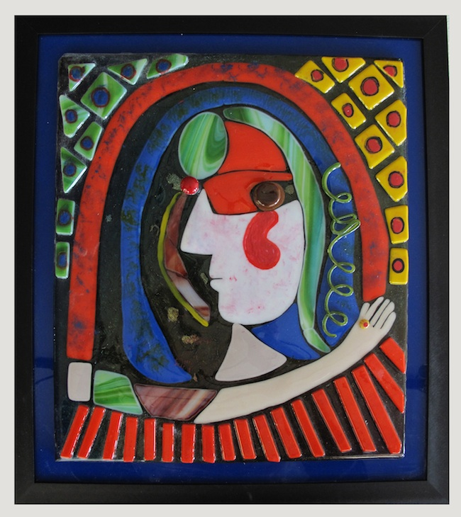 Title: Homage Series, Adara Medium: fused glass & enamel Size: 14 x 16