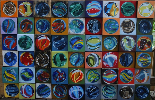 """Title: wall of marbles Medium: acrylic on wood Size: 18"""" x 36"""""""